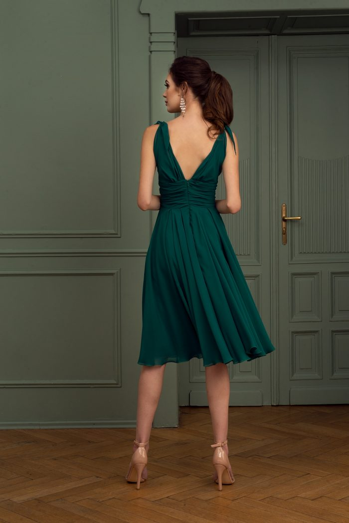 Suknia wieczorowa 47/2020 - Tył - Butelkowa zieleń -